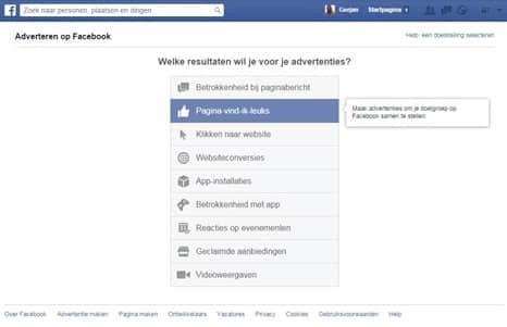 Facebook doel bepalen